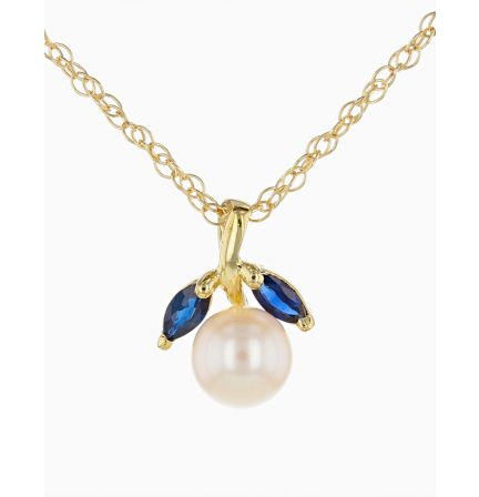 14k Yellow Gold Pearl and Marquise Sapphire Pendant with Rope Chain