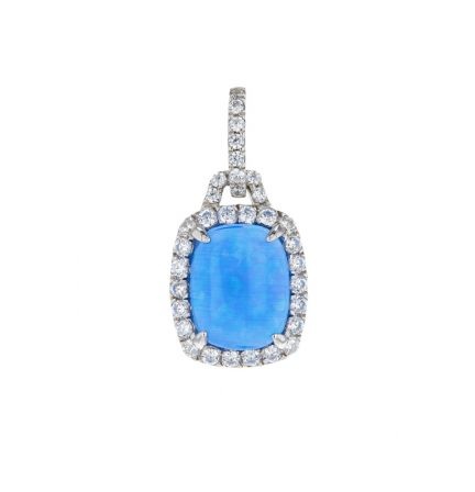 Sterling Silver Imitation Opal & White Cubic Zirconia Halo  Pendant