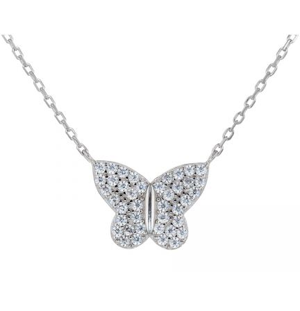 Sterling Silver White Cubic Zirconia Butterfly Necklace