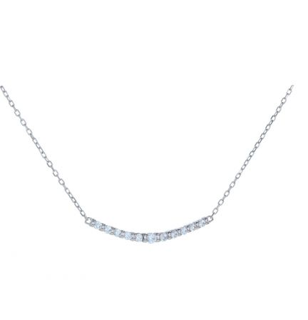 Sterling Silver White Cubic Zirconia Bar Set Bar Necklace
