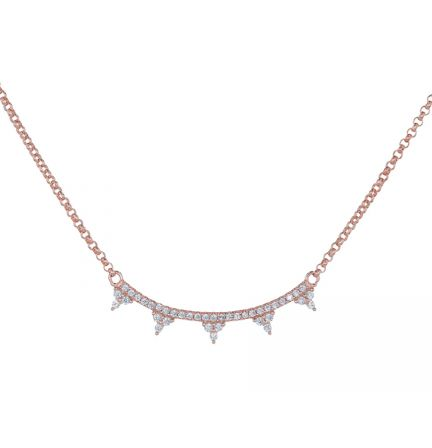Rose Gold Plated Sterling White Cubic Zirconia