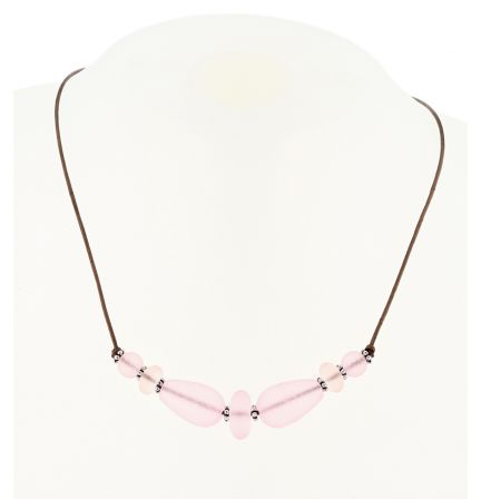Palpitations Brown Leather Lace Choker With Pink Blossom Sea Glass