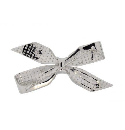 Platinum Vintage Handmade Diamond Bow Brooch