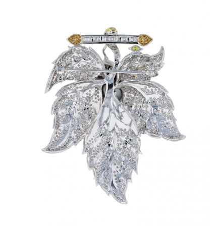 18k White Gold Tahitian Pearl & Diamond Leaf Motif Brooch