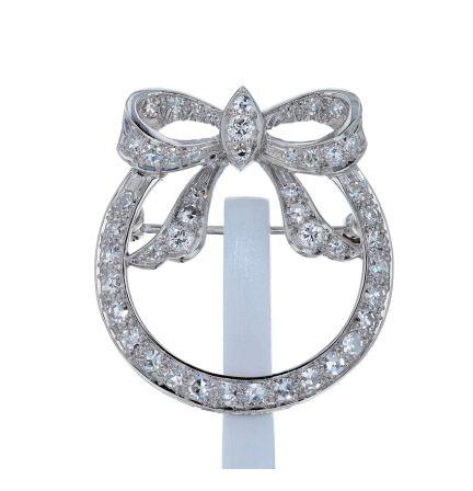 Platinum Diamond Bow Circle Vintage Pin