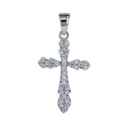 Sterling Silver White Cubic Zirconia Shared Prong Set Cross Pendant
