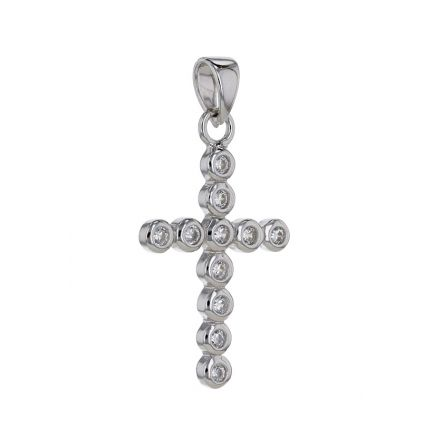 Sterling Silver White Cubic Zirconia Bezel Set Cross Pendant
