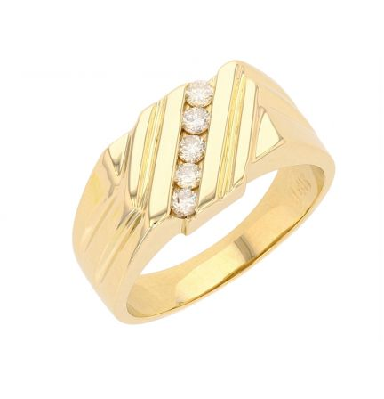 14K Yellow Gold Diamond Gents Ring