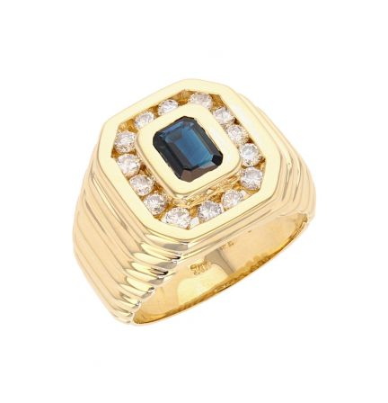 14K Yellow Gold Blue Sapphire and Diamond Gents Ring