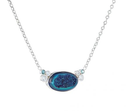 Kristopher Mark Custom Blue/Purple Druzy Cubic Zirconia and Simulated Blue Zircon Necklace