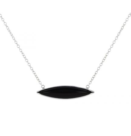Kristopher Mark Black Onyx Marquise Bezel Set Cabochon Bar Necklace