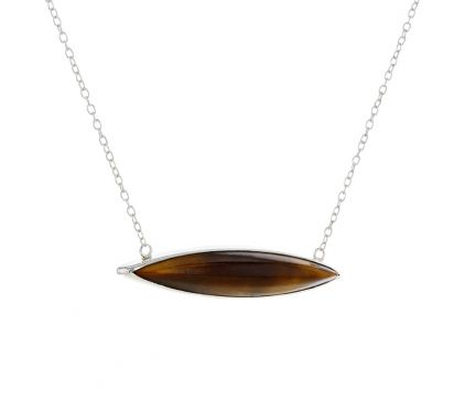 Kristopher Mark Tigers Eye Marquise Bezel Set Cabochon Bar Necklace