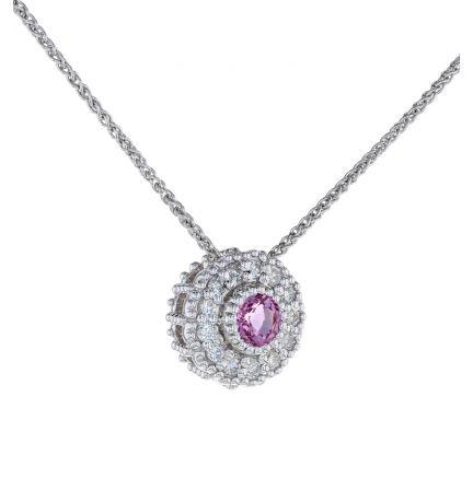 Kristopher Mark Pink Sapphire & Diamond Milgrain Cluster Pendant
