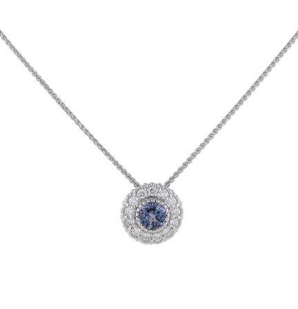 Kristopher Mark Lavender Sapphire & Diamond Milgrain Cluster Pendant