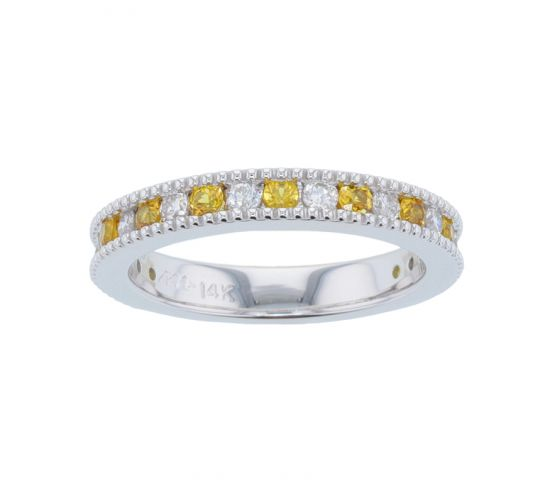Kristopher Mark Yellow Sapphire & Diamond Milgrain Channel Band